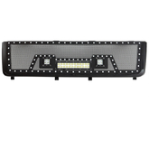 11-14 Chevy Silverado 2500HD/3500HD All Evolution All Black Stainless Steel Wire Mesh Packaged Grille With Three LED Lights for Chevy Silverado