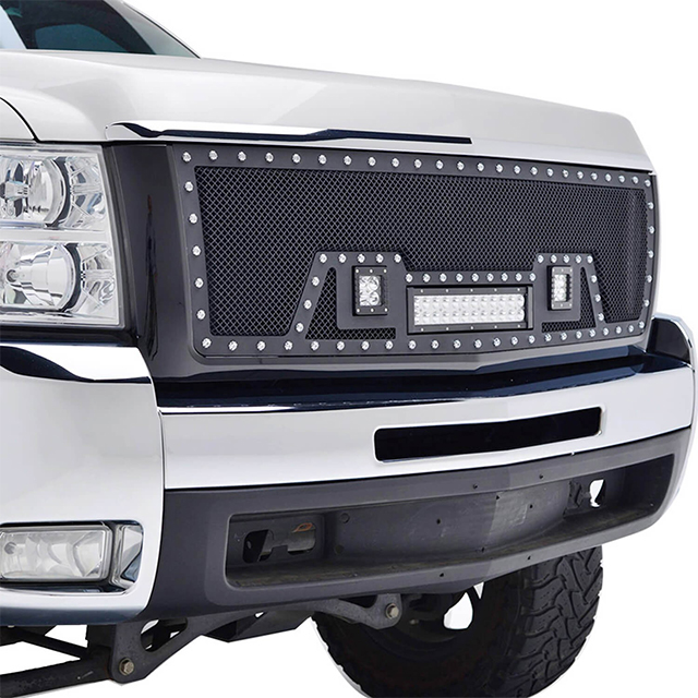 07-10 Chevy Silverado 2500HD/3500HD All Evolution All Black Stainless Steel Wire Mesh Packaged Grille With Three LED Lights for Chevy Silverado