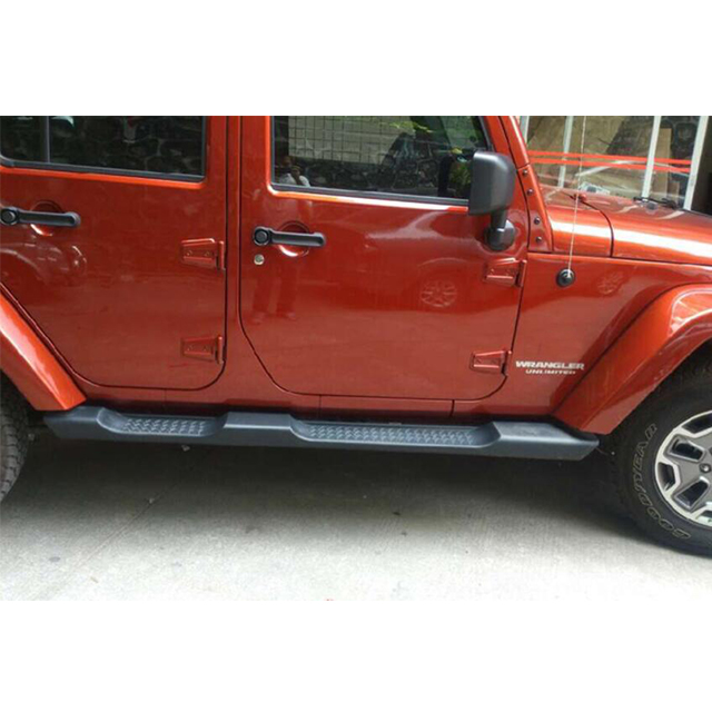 Factory Style Side Steps ( 4-Dr ) Material: Durable Black Plastic With Steel Substructures for Jeep Wrangler JK